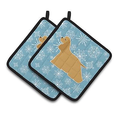 Caroline's Treasures Winter Snowflakes Cocker Spaniel Potholder (Set of 2)