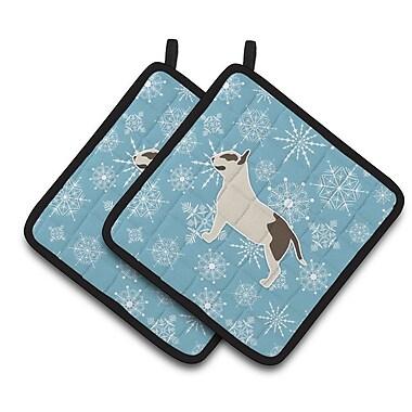 Caroline's Treasures Winter Snowflakes Bull Terrier Potholder (Set of 2)