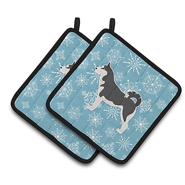 Caroline's Treasures Winter Snowflakes Siberian Husky Potholder (Set of 2)