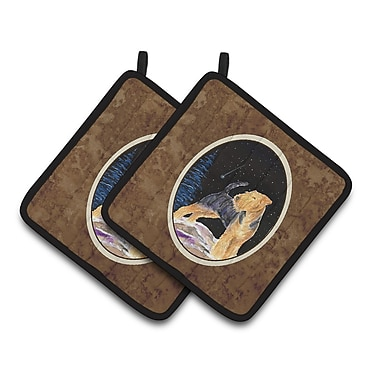 Caroline's Treasures Starry Night Welsh Terrier Potholder (Set of 2)
