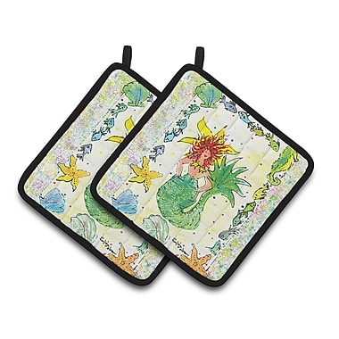 Caroline's Treasures Headed Funky Mermaid Potholder (Set of 2)