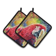 East Urban Home Red/Yellow Parrot Potholder (Set of 2)