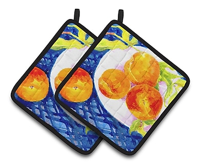 Caroline's Treasures Bowl of Peaches Potholder (Set