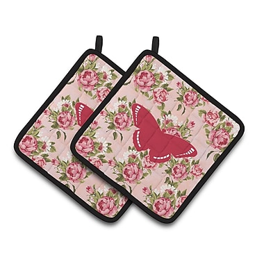 East Urban Home Butterfly Shabby Elegance Roses Pink Fabric Potholder ( Set of 2) (Set of 2)
