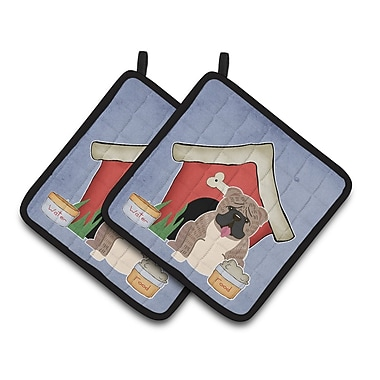 Caroline's Treasures Dog House English Bulldog Brindle Potholder (Set of 2); Gray