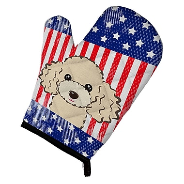 Caroline's Treasures American Flag Poodle Oven Mitt; Buff