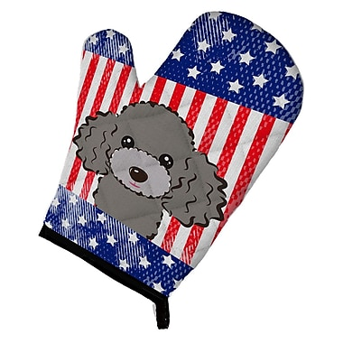 Caroline's Treasures American Flag Poodle Oven Mitt; Silver Gray