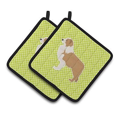 East Urban Home Border Collie Checkerboard Potholder (Set of 2); Green