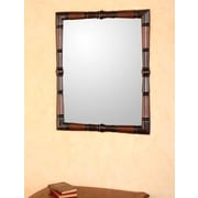 Novica Contemporary Artisan Hand Tooled Leather and Wood Wall Mirror