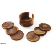 Novica 7 Piece Agate and Cedar Wood Coaster Set