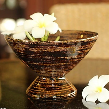 Novica Hand-Crafted Lacquered Bamboo Decorative Bowl