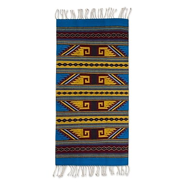 Novica Hand-Woven Blue/Yellow Are Rug