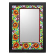 Novica Framed Enameled Floral Wall Mirror