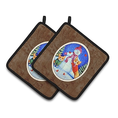 Caroline's Treasures Snowman w/ Corgi Potholder (Set of 2)