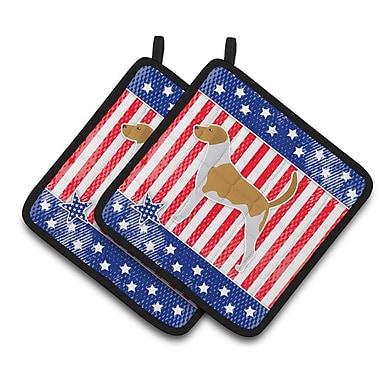 Caroline's Treasures Patriotic USA American Foxhound Potholder (Set of 2)
