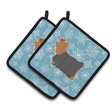 Caroline's Treasures Winter Snowflakes Yorkshire Terrier Yorkie Potholder (Set of 2)