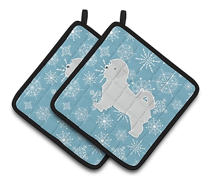 Caroline's Treasures Winter Snowflakes Maltese Potholder (Set of 2) WYF078279732359