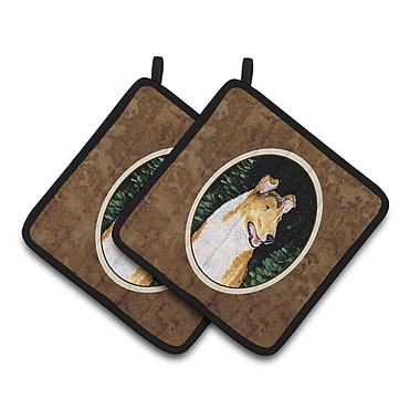 Caroline's Treasures Starry Night Collie Smooth Potholder (Set of 2)