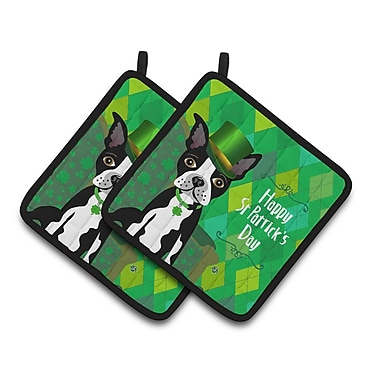 Caroline's Treasures St Patrick's Day Boston Terrier Potholder (Set of 2)