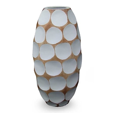 Novica Polka Dot Mango Table Vase; White