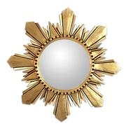 Novica Unique Round Gilded Wood Wall Mirror