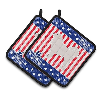 Caroline's Treasures Patriotic USA Polish Tatra Sheepdog Potholder (Set of 2)