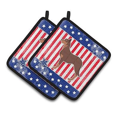 Caroline's Treasures Patriotic USA Australian Kelpie Dog Potholder (Set of 2)