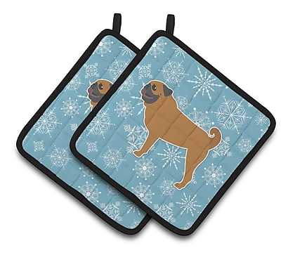 Caroline's Treasures Winter Snowflakes Pug Potholder (Set of 2) WYF078279732437
