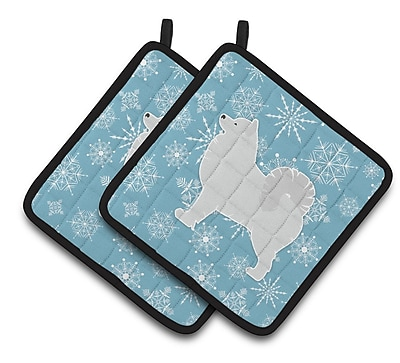 Caroline's Treasures Winter Snowflakes Samoyed Potholder