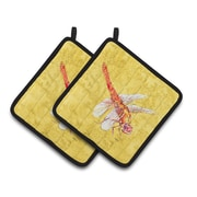 East Urban Home Dragonfly Yellow Potholder (Set of 2)
