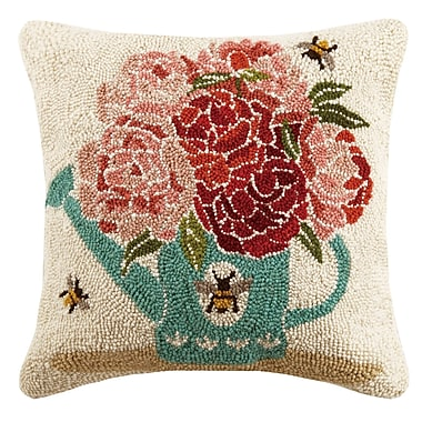 Suzanne Nicoll Studio Watering Can Bees Spring 100pct Wool Throw Pillow