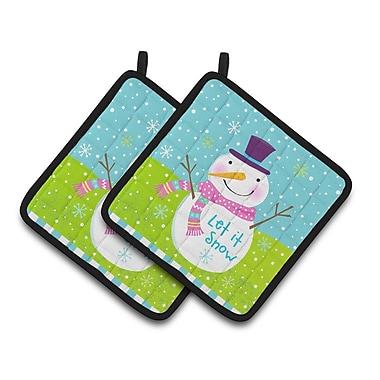 Caroline's Treasures Christmas Snowman Let it Snow Potholder (Set of 2)