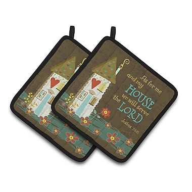 Caroline's Treasures As For Me and My House Potholder (Set of 2)
