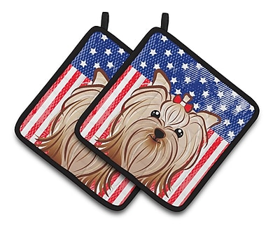 Caroline's Treasures American Flag and Yorkie Yorkishire Terrier Potholder (Set of 2)