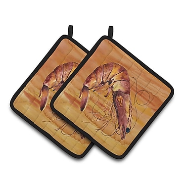 Caroline's Treasures Shrimp Potholder (Set of 2); Brown
