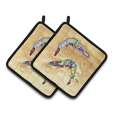 Caroline's Treasures Shrimp Potholder (Set of 2); Tan