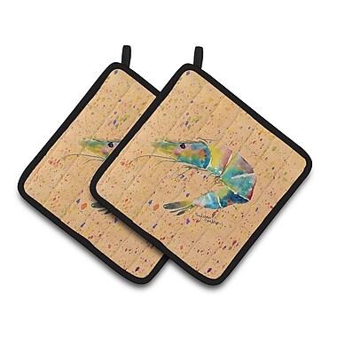 Caroline's Treasures Shrimp Potholder (Set of 2); Orange/Green