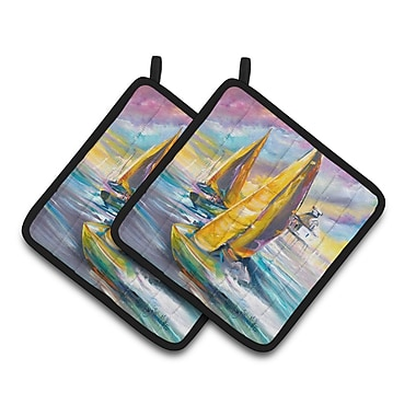 Caroline's Treasures Middle Bay Lighthouse Sailboats Potholder (Set of 2)