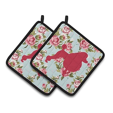 Caroline's Treasures Poodle Potholder (Set of 2); Blue