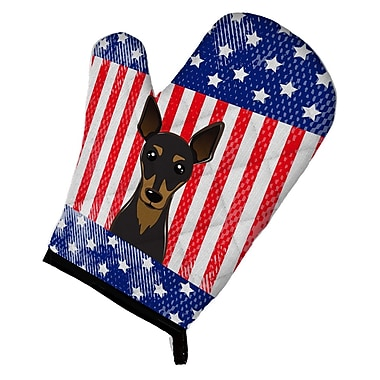 Caroline's Treasures American Flag and Min Pin Oven Mitt