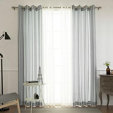 Gracie Oaks Chiverton Striped Semi-Sheer Grommet Curtain Panels (Set of 4)