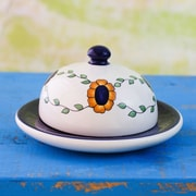 Novica Floral Hand Painted Ceramic Cheese Platter