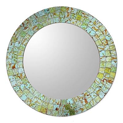 Novica Aqua and Lime Mosaic Wall Mirror