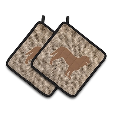 Caroline's Treasures Curly Coated Retriever Potholder (Set of 2); Brown