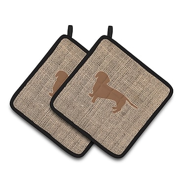 East Urban Home Dachshund Standing Potholder (Set of 2); Brown