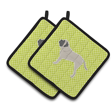 Caroline's Treasures English Mastiff Checkerboard Potholder (Set of 2); Green