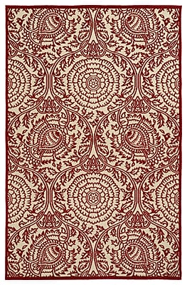 Charlton Home Covedale Machine Woven Red Indoor/Outdoor Area Rug; 5' x 7'6''