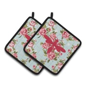 Caroline's Treasures Wasp Shabby Elegance Chic Roses Potholder (Set of 2); Pink/Blue by