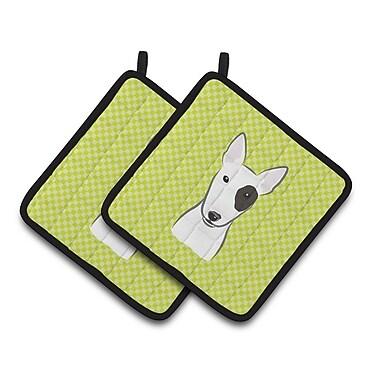 Caroline's Treasures Checkerboard Bull Terrier Potholder (Set of 2); Lime Green
