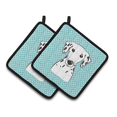 Caroline's Treasures Checkerboard Dalmatian Potholder (Set of 2); Blue
